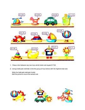 Calculating total cost , ball park estimate, 3rd grade arithmetic
