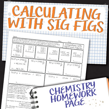 Calculations with Significant Figures Chemistry Homework W