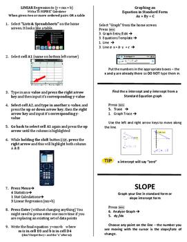 Calculator Tips - Linear Regression, Slope, Standard Form