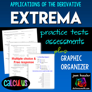 Calculus Extrema Derivatives - 4 Tests plus Graphic Organizer