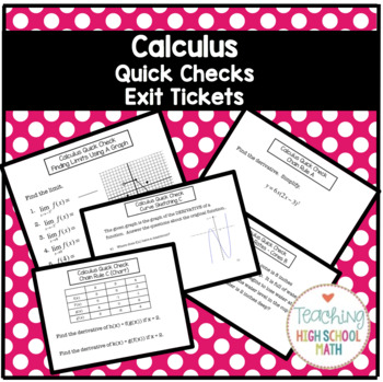 Calculus AB Quick Checks or Exit Tickets