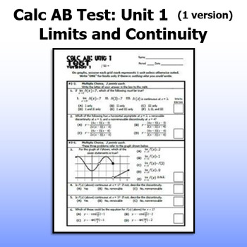 Calculus AB Test - Unit 1 - Limits and Continuity - ONE VERSION