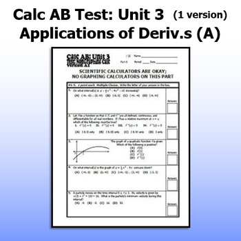 Calculus AB Test - Unit 3 - Applications of Derivatives A