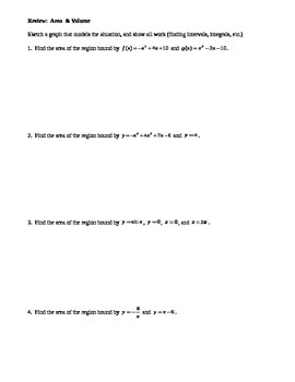 Calculus: Area & Volume Review
