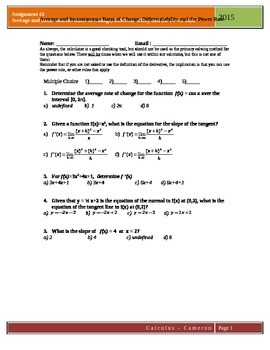 Calculus Assignment 2: Rates of change, Differentiability,