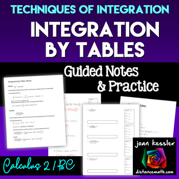 Calculus BC  Integration by Tables