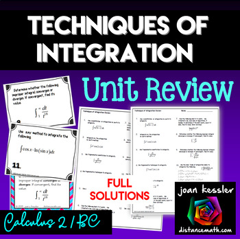 Calculus BC  Techniques of Integration Task Cards with Ful