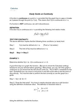 Calculus:  Continuity Study Guide