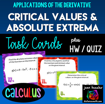 Calculus  Critical Value  Extrema  Derivatives  Task Cards