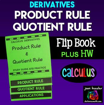 Calculus Derivatives Product Rule Quotient Rule Flip Book