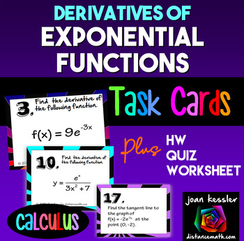 Calculus  Derivatives of Exponential Functions Task Cards