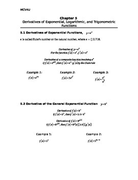 Calculus - Derivatives of Exponential & Trig Functions