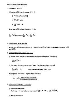Calculus: Formulas & Theorems