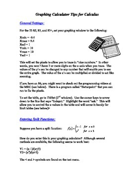 Calculus:  Graphing Calculator Tips