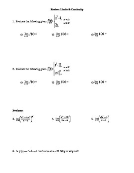 Calculus: Limits & Continuity Review worksheet