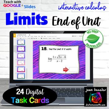Calculus Limits End of Unit Digital Task Cards  GOOGLE Slides