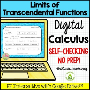 Calculus: Limits of Transcendental Functions Daily Quiz Go