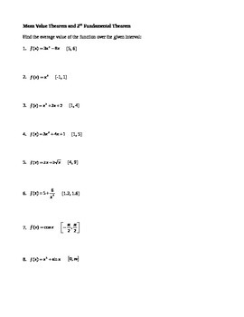 Calculus: MVT & 2nd FTC