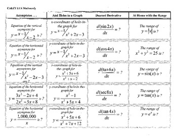 Calculus Mathnerdy, 20 Jeopardy columns,template,ACT,SAT,G