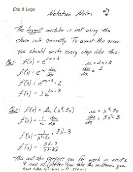 Calculus:  Notation Notes - Exponentials & Logs