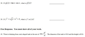 Calculus One Fall Final Exam