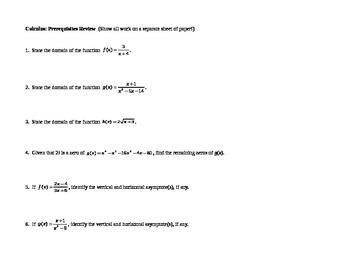 Calculus: Prerequisites Review 2