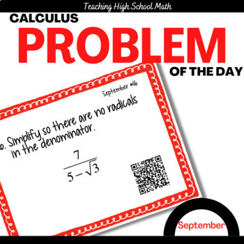Calculus Problem of the Day for September (with optional Q