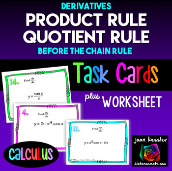 Calculus Product Rule Quotient Rule Derivatives Task Cards