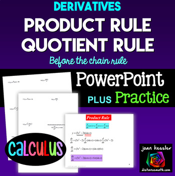 Worksheets Higher Order Derivatives Worksheet calculus derivatives product rule quotient by joan kessler powerpoin