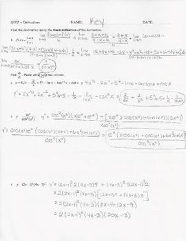 Calculus Quiz - Derivatives - Rules & Implicit Differentia