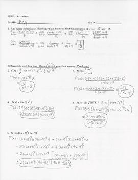 Calculus Quiz - Derivatives w/ KEY