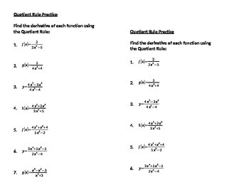 Calculus: Quotient Rule Practice