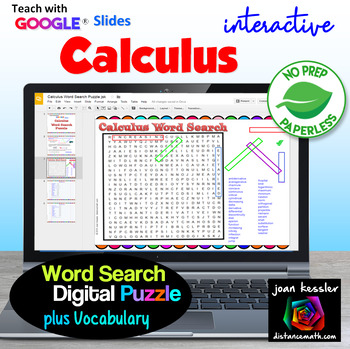 Calculus Word Search Puzzle Interactive with GOOGLE Slides