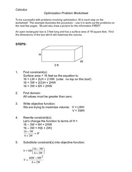 Calculus: Worksheet (Study Guide) for Optimization Problems