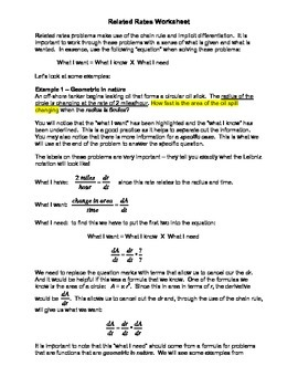 Calculus: Worksheet (Study Guide) for Related Rates