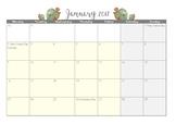 Calendar 2017 month per page Floral Border - Victorian sch