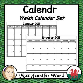 Calendar / Calendr Set in Welsh