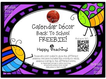 Calendar Cards - Bugs Theme - English and Spanish