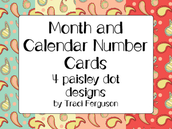 Calendar Cards Set - 4  Paisley Designs