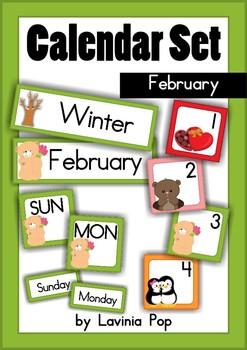 Calendar Cards Set - February