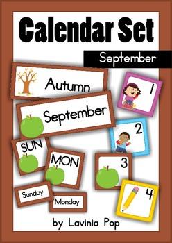 Calendar Cards Set - September