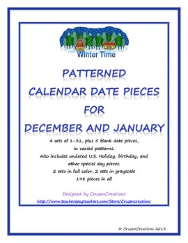 Calendar Date Pieces for December and January
