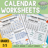 Calendar Discovery - Monthly Calendar Worksheets