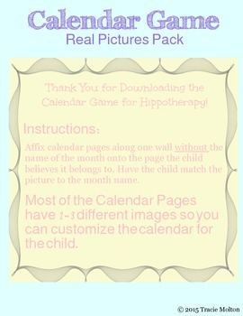 Calendar Game for Hippotherapy, Classroom, and Homeschool
