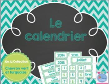 Calendar - Green and Turquoise/ Calendrier de classe vert