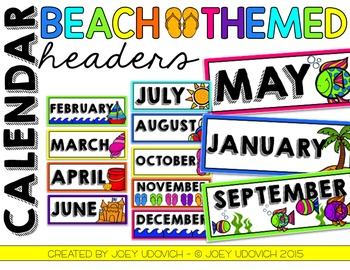Calendar Headers - Beach Theme
