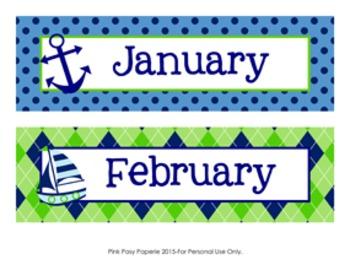 Calendar Headers Nautical Navy and Lime