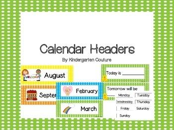 Calendar Headers - Polka Dot Borders