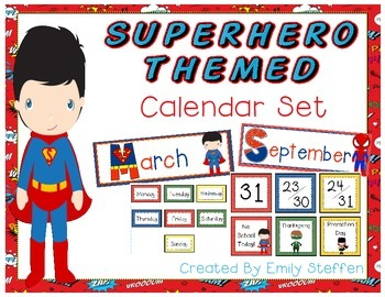 Calendar Headings, Numbers, Special Events and Days of the Week