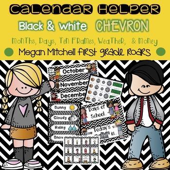 Calendar Helper: Black & White Chevron